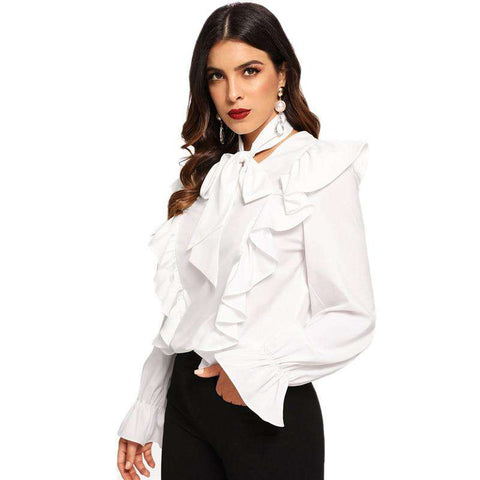 White Tie Neck Ruffle Trim Long Sleeve V Neck Minimalist Blouse Top