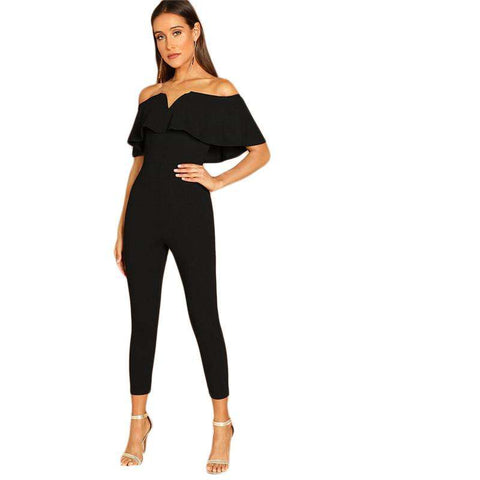 Black Off Shoulder Short Sleeve Ruffle Skinny Jumpsuit