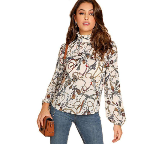 Multicol Mock Neck Chain Print Stand Collar Long Sleeve Top