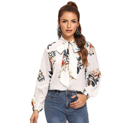 White Tie Neck Floral Long Sleeve Stand Collar Top