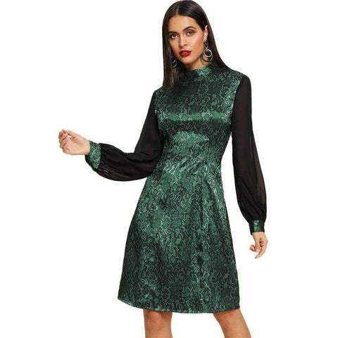 Green Contrast Balloon Sleeve Jacquard Stand Collar Knee Length Dress