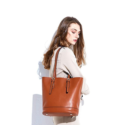 Large Capacity 100% Genuine Leather Vintage Shoulder Tote Bag