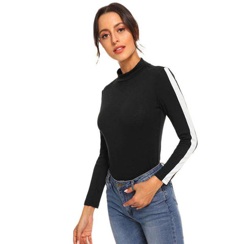 Black Mock High Neck Contrast Panel Detail Long Sleeve Top