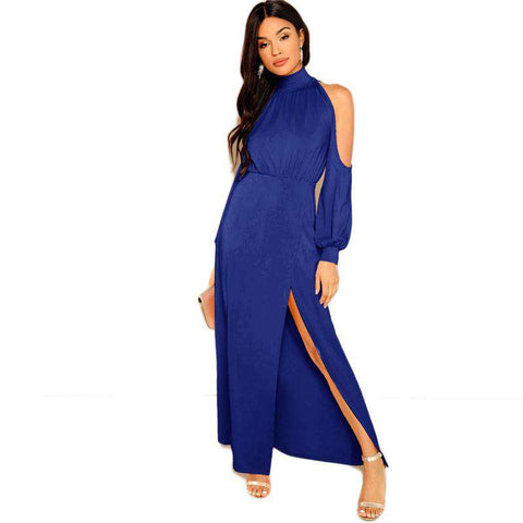 Blue M-Slit Front Cold Shoulder Stand Collar Dress