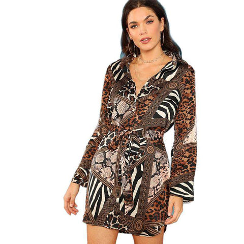 Leopard Print Belted Tie Waist V Neck Long Sleeve Short Dress