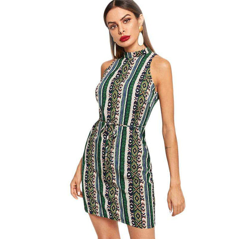 Multicolor Belted Waist Allover Floral And Striped Print Sleeveless Skinny Dress