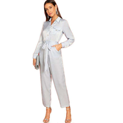 Grey Button Front Waist Belted Collar Long Sleeve Jumpsuits