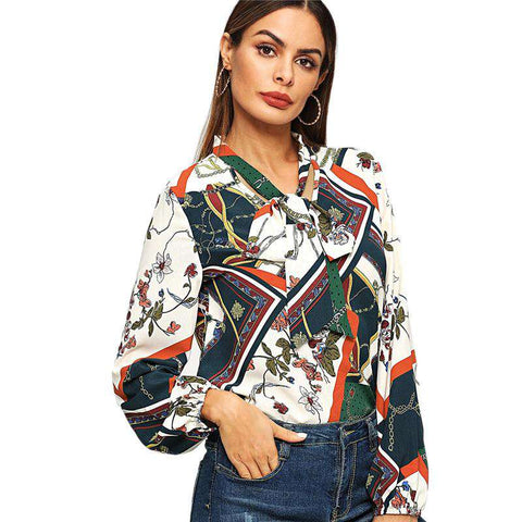 Multicolor Tie Neck Mixed Print Long Sleeve Blouse Top