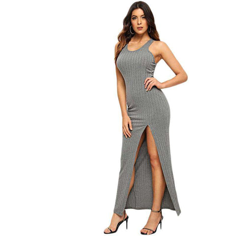 Grey Scoop Neck Rib Knit High Slit Racerback Skinny Dress