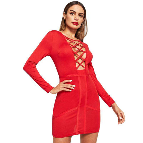 Red Criss Cross Cutout Round Neck Long Sleeve Dress