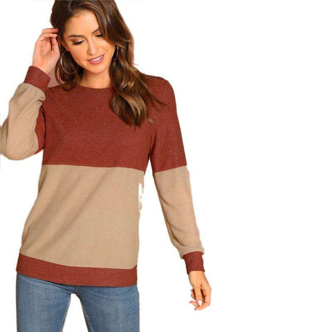 Round Neck Two Tone Long Sleeve Pullover Sweatshirts