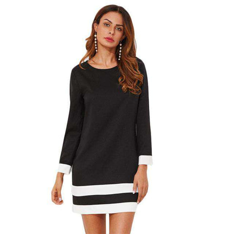 Striped Cuff And Hem Round Neck Long Sleeve Short Fall Black Dress
