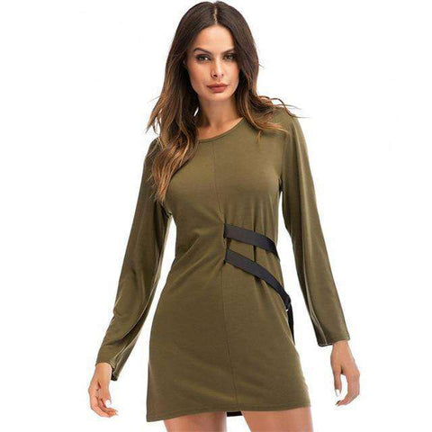 Side Self PU Sashes Crew Neck Long Sleeve Tunic Mini Dress