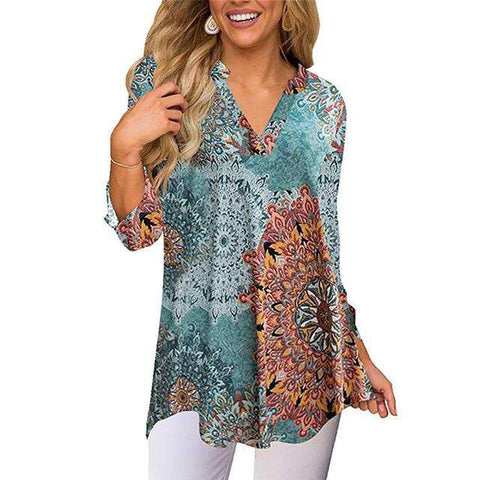 Half Sleeve V-Neck Loose Floral Print Tunic Top