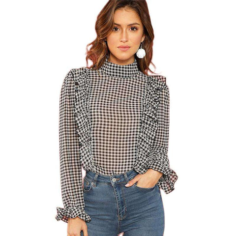 Black and White Long Sleeve Plaid Ruffle Detail Mock Neck Top