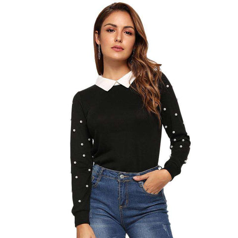 Long Sleeve Pearls Beaded Turn-down Collar Black Top