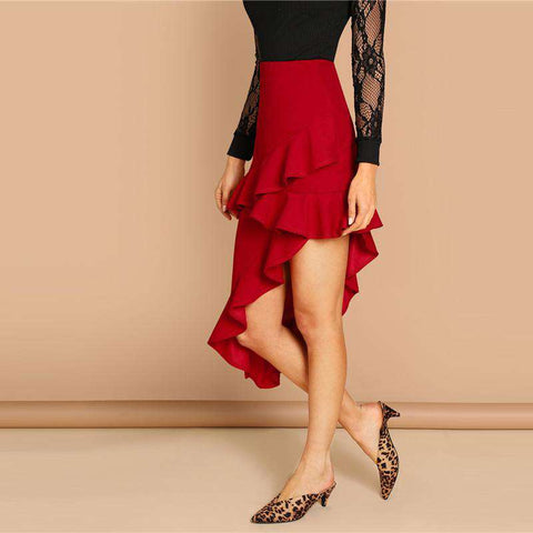 Red Layered Ruffle Trim Asymmetrical Mid Waist Short Skirt