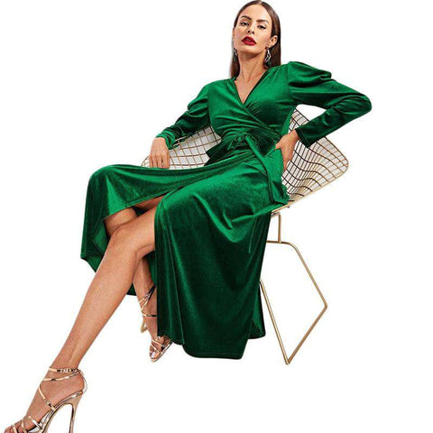 Green Puff Sleeve Tie Waist Split Side Surplice Wrap Long Sleeve Dress