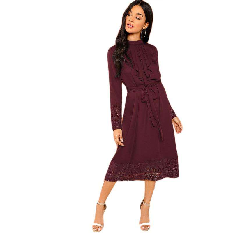 Burgundy Belted Pleated Ruffle Trim Contrast Lace Long Sleeve Dress
