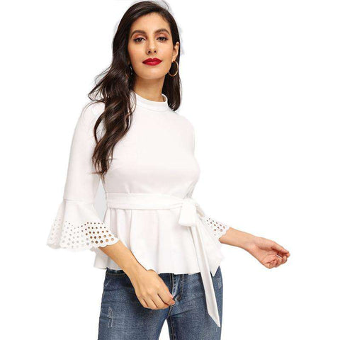 White Mock-Neck Stand Collar Laser Cut Peplum Ruffle Belted Top Blouse