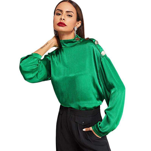 Army Green Mock Neck Button Detail Long Sleeve Blouse Top