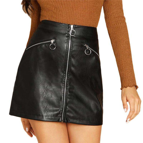 Black O-Ring Zip Detail Above Knee Short Sheath Zipper Mid Waist