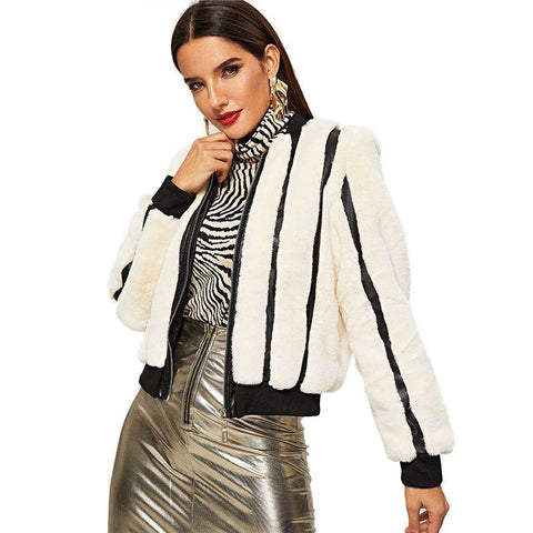 White Striped Zipper Faux Fur Jacket