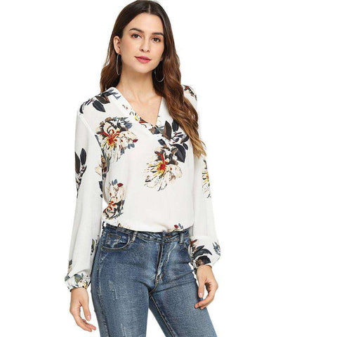 White Floral Print V Neck Long Sleeve Top Blouse