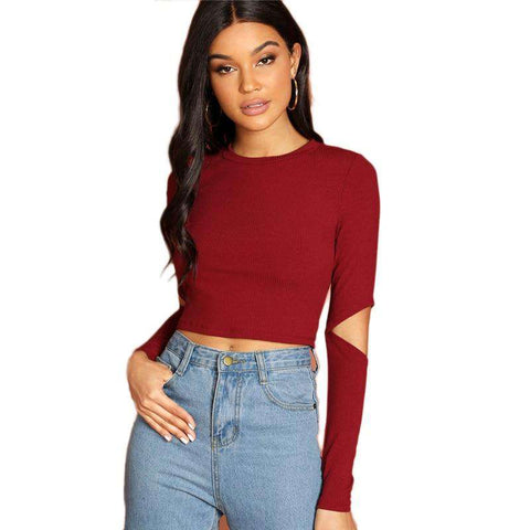 Burgundy Cutout Sleeve Slim Fitted Crop Round Neck Top