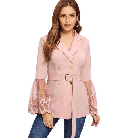 Pink Embroidered Mesh Insert Bell Flounce Sleeve Belted Faux Fur Coat