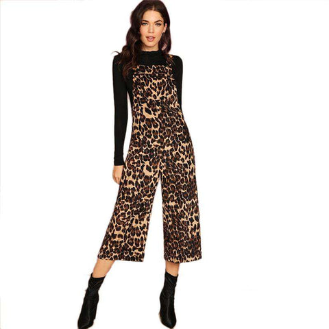Pocket Front Leopard Print Culotte Sleeveless Jumpsuit