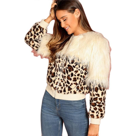 Zip Up Faux Fur Leopard Bomber Coat
