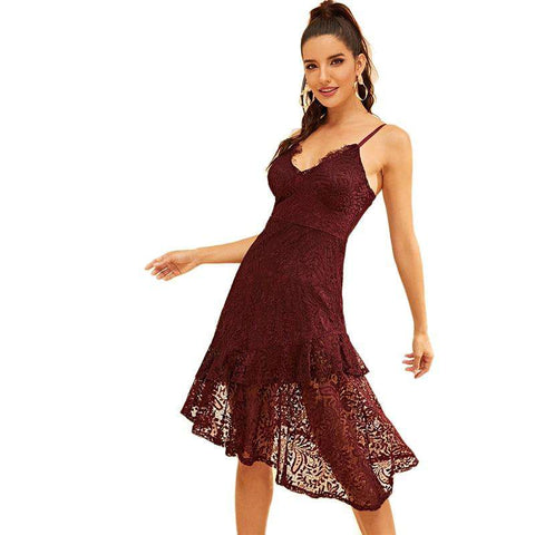 Burgundy Plunging Neck Asymmetrical Hem Lace Spaghetti Strap High Waist Cami Dress