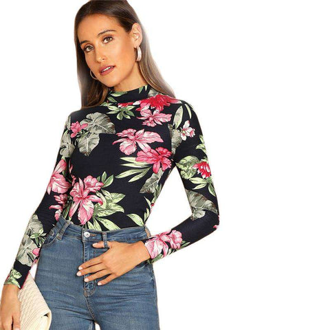 Multicolor Floral Print Mock-Neck Long Sleeve Slim Fit Tee Top