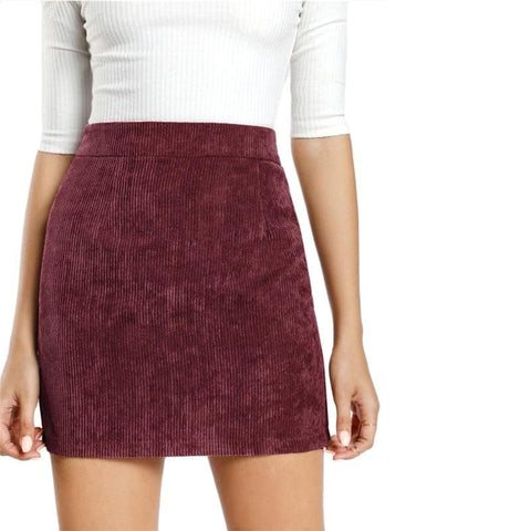 Corduroy High Waist Mini Pencil Skirt