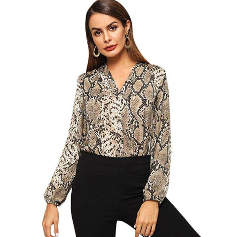 Multicolor Snakeskin V-neck Long Sleeve Top Blouse