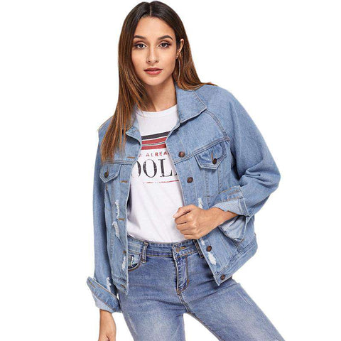 Blue Ripped Raglan Sleeve Single Breasted Denim Jacket