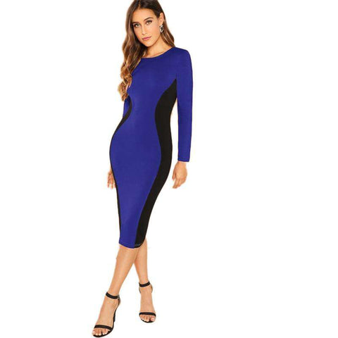 Blue Knee Length Round Neck Pencil Slim Dress