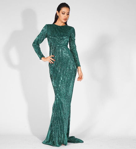 0-Neck High Waist Elastic Pleated Sequins Fishtail Shape Party Green Long Dress
