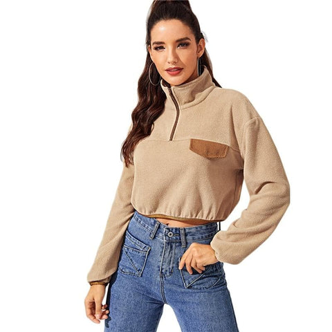 Camel Contrast Binding Zip Front High Neck Long Sleeve Teddy Pullover Sweatshirt