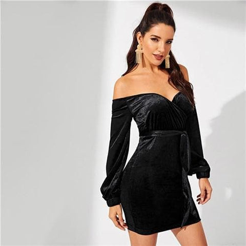 Black Waist Belted Off Shoulder Velvet Bishop Sleeve Dress