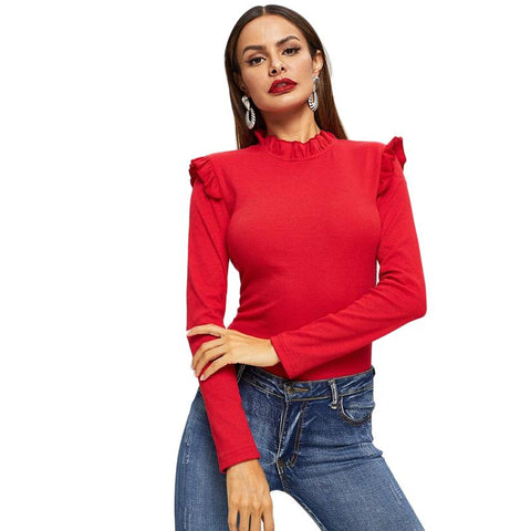 Red Frill Trim Stand Collar Ruffle Tshirt Top