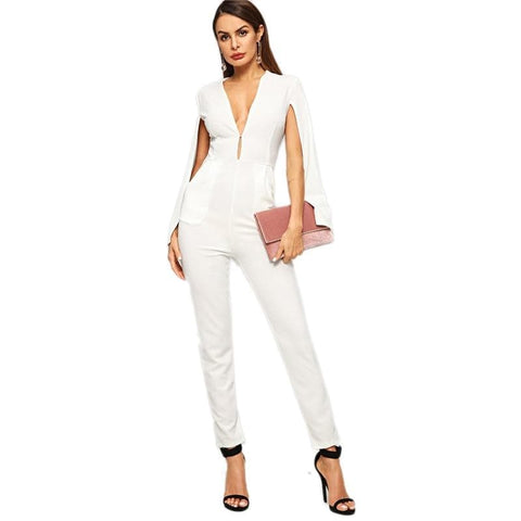 Beige Plunging Deep V Neck High Waist Split Cloak Sleeve Jumpsuit