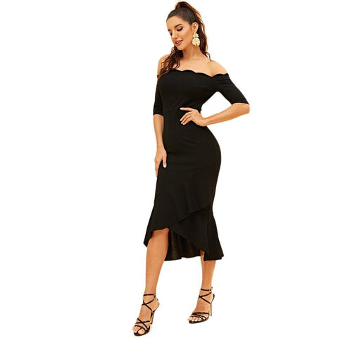 Black Scallop Trim Surplice Ruffle Hem Bardot Off Shoulder Half Sleeve Slim Flounce Dress