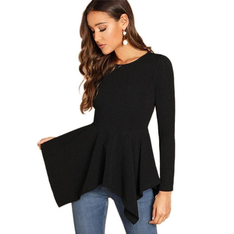 Black Asymmetrical Hem Peplum Long Sleeve Round Neck Top