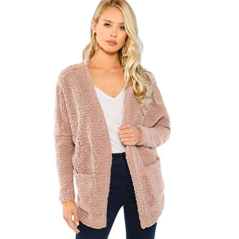 Pink Patch Pocket Open-Front Long Sleeve Faux Fur Teddy Coat