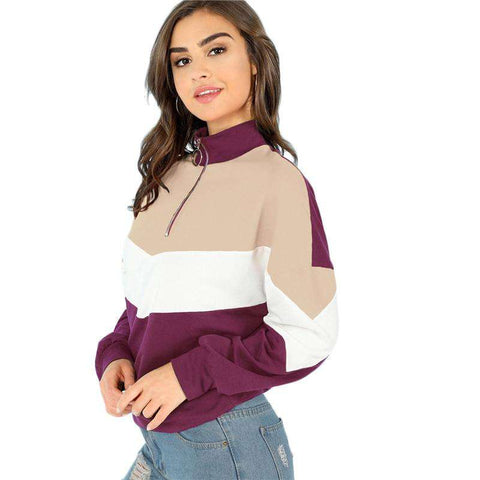 O-Ring Zip Front Cut And Sew Stand Collar Long Sleeve Sweatshirt