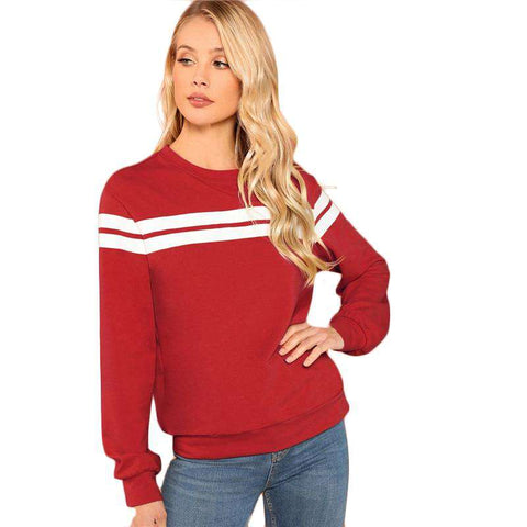 Red Varsity Striped Round Neck Long Sleeve Sweatshirt Pullover