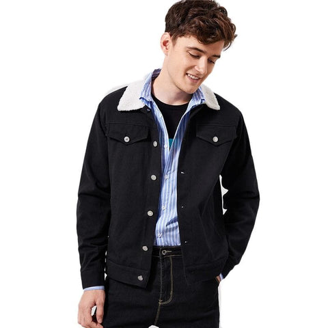 Contrast Faux Black Teddy Collar Buttoned 100% Cotton Single Breasted Jacket