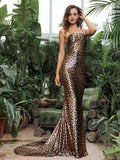 Strapless Open Back Leopard Elastic Material Party Long Dress